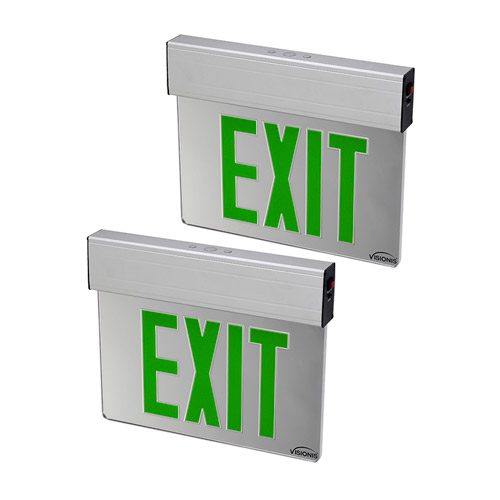 Visionis 2 Pack FPC-7379 VIS-ESGGL Green 6 Inch - Green Exit Sign Light LED - Acrylic Face - Double Sided - 90 Minute Battery Backup - UL924 Listed