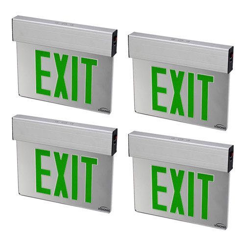 Visionis 4 Pack FPC-7380 VIS-ESGGL Green 6 Inch - Green Exit Sign Light LED - Acrylic Face - Double Sided - 90 Minute Battery Backup - UL924 Listed