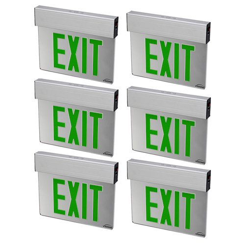 Visionis 6 Pack FPC-7381 VIS-ESGGL Green 6 Inch - Green Exit Sign Light LED - Acrylic Face - Double Sided - 90 Minute Battery Backup - UL924 Listed