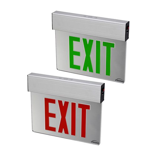 Visionis 2 Pack FPC-7389 VIS-ESRGL 1 Red and 1 VIS-ESGGL Green 6 Inch - Exit Sign Light LED - Acrylic Face - Double Sided - 90 Minute Battery Backup - UL924 Listed