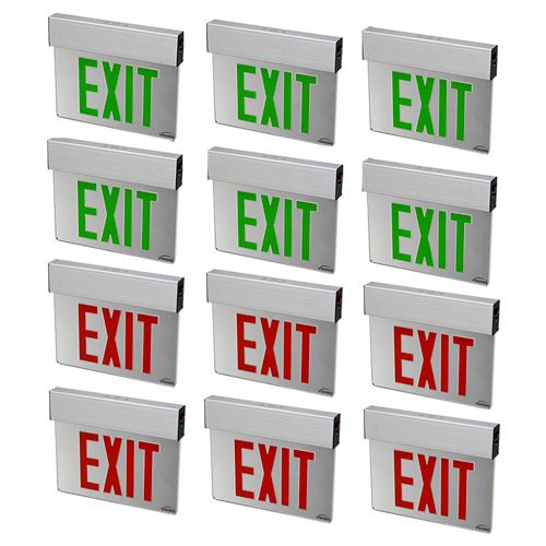 Visionis 12 Pack FPC-7392 VIS-ESRGL 6 Red and 6 VIS-ESGGL Green 6 Inch - Exit Sign Light LED - Acrylic Face - Double Sided - 90 Minute Battery Backup - UL924 Listed
