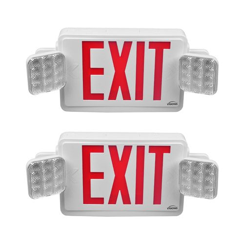 Visionis 2 Pack FPC-7398 VIS-ESRWEL 6 Inch - Red Combo Exit Sign + Emergency Light - Double Sided - 90 Minute Battery Backup - UL924 Listed