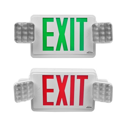 Visionis 2 Pack FPC-7403 VIS-ESRWEL 1 Red and VIS-ESGWEL 1 Green 6 Inch - Combo Exit Sign + Emergency Light - Double Sided - 90 Minute Battery Backup - UL924 Listed
