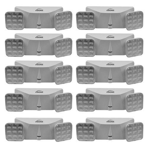 Visionis 10 Pack FPC-7411 VIS-ELS LED Emergency Exit Light - Adjustable Square Head - 90 Minute Battery Backup - UL Listed