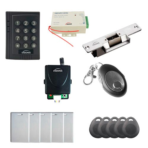 Visionis FPC-7454 Door Access Control With Normally Closed Electric Strike With VIS-3012 Indoor Use Only Keypad/Reader Standalone No Software EM Card Compatible 500 Users Kit +Remote Control
