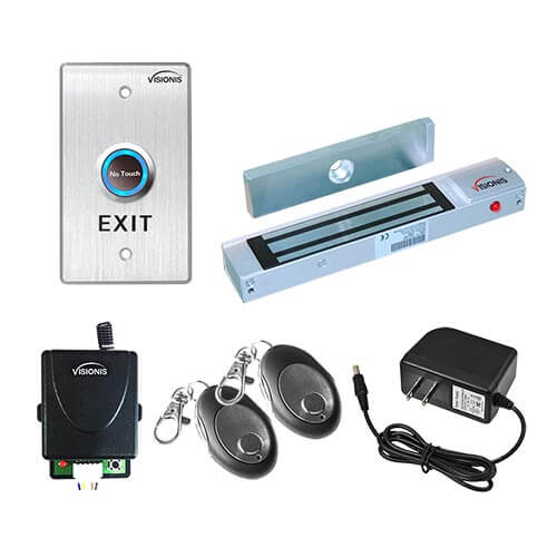 Visionis FPC-7469 One Door Access Control for Out Swinging Door 300lbs Electromagnetic Lock Kit With Wireless Receiver + Remote + VIS-7013 Exit Button Kit