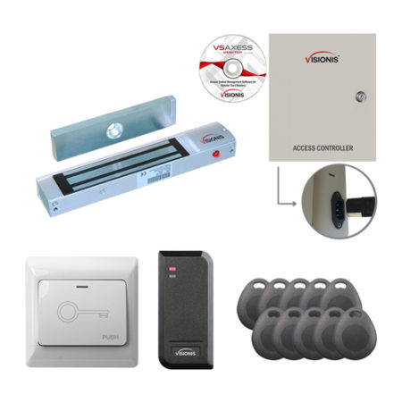 Visionis FPC-7480 One Door Access Control Electromagnetic Lock for Out Swing Door 300lbs TCP/IP Wiegand Controller Box + Power Supply + Black Outdoor Card Reader Software Included 10,000 User Kit