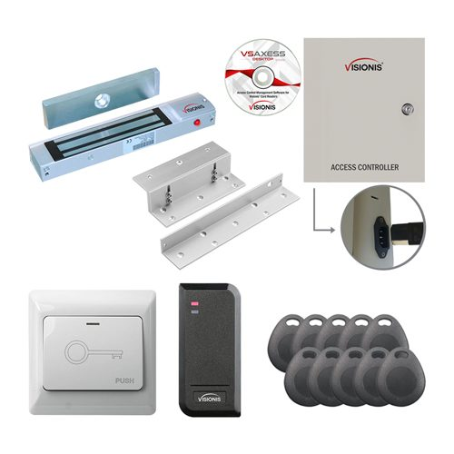 Visionis FPC-7483 One Door Access Control Electromagnetic Lock for In Swing Door 300lbs TCP/IP Wiegand Controller Box + Power Supply + Black Outdoor Card Reader Software Included 10,000 User Kit