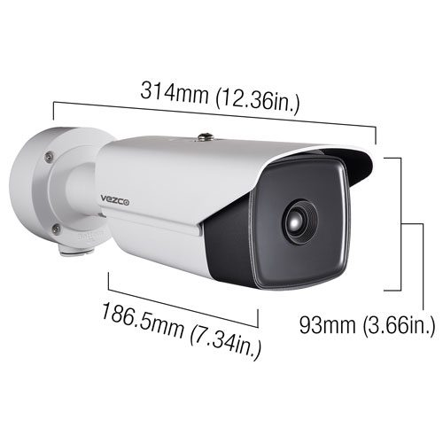 Thermal Network Bullet Camera 15mm Lens, IP66 - VZ- IP-THERM15 Dimensions