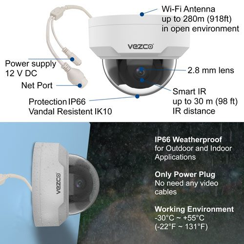 Vezco VZ-EyeView-KDHD - Full HD Wireless Security Camera System 4CH 1080  with 1TB HDD WIFI NVR 4 Dome 1080P Indoor + Outdoor Wireless IP cameras P2P