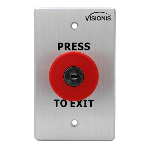 Indoor Big Red with Cylinder Key Request to Push to Exit Button for Door Access Control with NC COM and NO Outputs