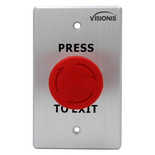 VIS-7033 - Indoor Big Red Request to Push to Exit Button for Door Access Control with NC COM and NO Outputs