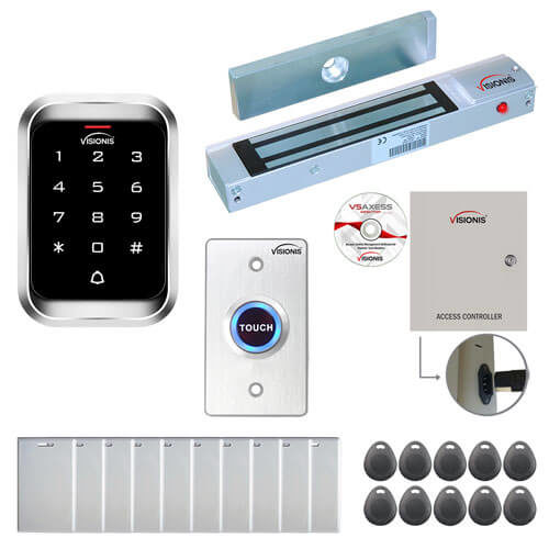 FPC-7893 One Door Access Control Electromagnetic Lock for Out Swing Door 300lbs TCP/IP Wiegand Controller Box