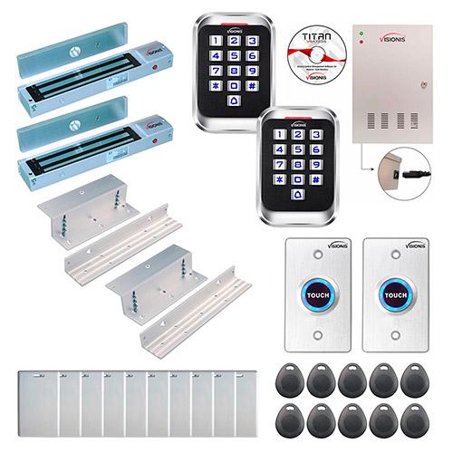 TCPIP 4 Door Access Control Kit Metal Waterproof Touch Keypad Reader Mag Lock