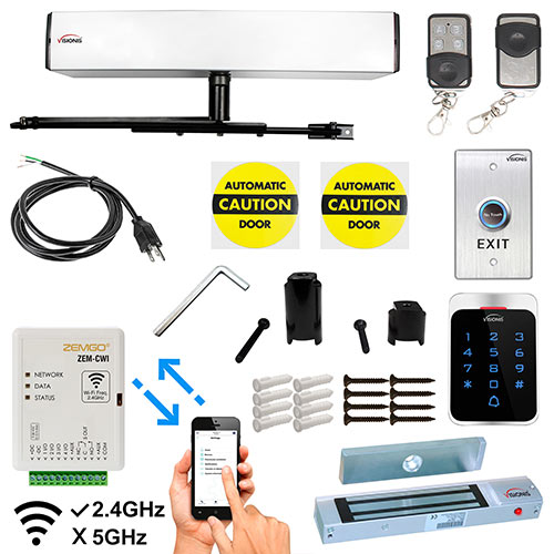 Smartphone Remote Viewing, Automatic Door Opener + Closer 440lb Outswing Door, Outdoor Keypad, 300lb Mag Lock