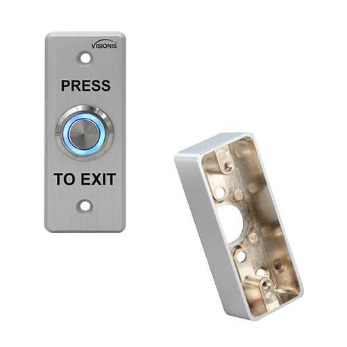 FPC-5404 Outdoor Weather and WaterProof Stainless Steel Door Bell Type Round Request To Exit Button Slim Size for Door Access Control with Zinc Alloy Gang Box