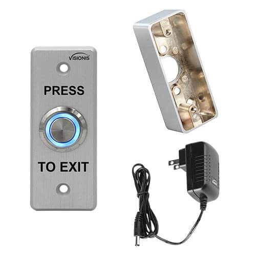 FPC-5406 Outdoor Weather and WaterProof Stainless Steel Door Bell Type Round Request To Exit Button Slim Size for Door Access Control with Power Supply and Zinc Alloy Gang Box