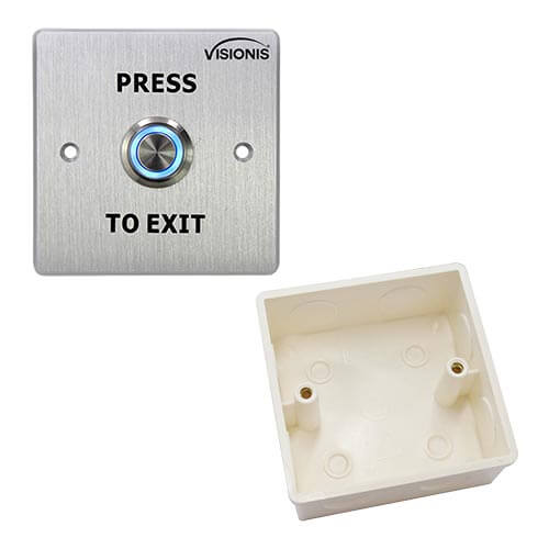 FPC-5412 Outdoor Weather and Waterproof Stainless Steel Door Bell Type Round Request To Exit Button Wide Size For Door Access Control With Plastic Back Box