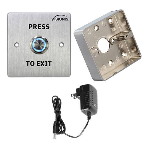 FPC-5416 Outdoor Weather and Waterproof Stainless Steel Door Bell Type Round Request To Exit Button Wide Size For Door Access Control With Zinc Alloy Back Box and Power Supply