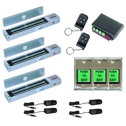 FPC-5016 Three door Access Control outswinging door 600lbs Electromagnetic lock kit with Seco-Larm wireless receiver and remote kit