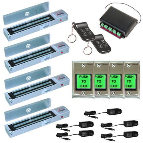 FPC-5017 Four door Access Control outswinging door 600lbs Electromagnetic lock kit with Seco-Larm wireless receiver and remote kit