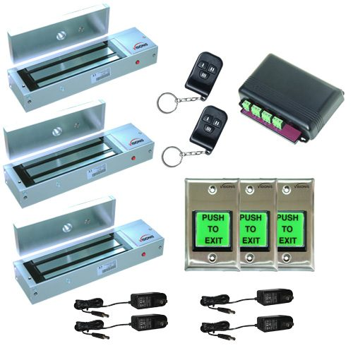 FPC-5022 Three door Access Control outswinging door 1200lbs Electromagnetic lock kit with Seco-Larm wireless receiver and remote kit
