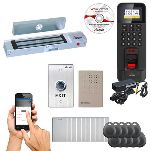 FPC-5711 1 Door Access Control Time Attendance Out Swinging Door 300lb Mag Lock, WIFI, TCP/IP RS485 Indoor/Outdoor Waterproof IP45 Biometric Fingerprint Reader, Software Included, 3000 Users kit