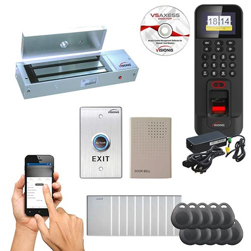 FPC-5715 One Door Access Control Time Attendance for Out Swinging Door 1200lbs Electronic MagLock, WIFI, TCP/IP RS485 Wiegand Indoor/Outdoor Waterproof IP45 Biometric Fingerprint Reader, Software Included EM TK4100 Card Compatible 3000 Users Kit
