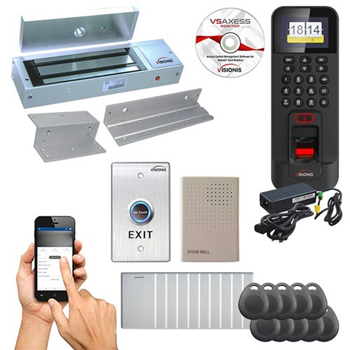 FPC-5716 One Door Access Control Time Attendance for In Swinging Door 1200lbs Electronic Mag Lock, WIFI, TCP/IP RS485 Wiegand Indoor/Outdoor Waterproof IP45 Biometric Fingerprint Reader, Software Included EM TK4100 Card Compatible 3000 Users Kit