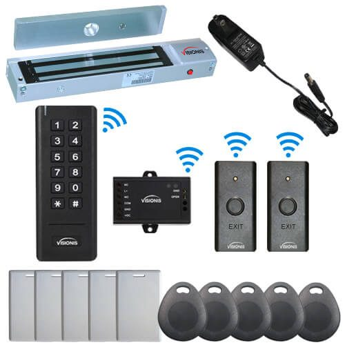 Visionis FPC-6343 Black Indoor One Door Access Control Outswinging Door 2.4Ghz Wireless Keypad/Reader With Hard Wired 300lb Electric Maglock