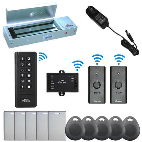 Visionis FPC-6347 Black Indoor One door Access control Outswinging Door 2.4Ghz Wireless Keypad / Reader and Wireless Exit Button with Hard Wired 1200lb Electric Maglock 500 Users Range of 50 feet Delay and On/Off Toggle Mode Standalone No software Kit