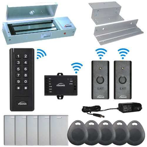 Visionis FPC-6348 Black Indoor One door Access control Inswinging Door 2.4Ghz Wireless Keypad / Reader and Wireless Exit Button with Hard Wired 1200lb Electric Maglock 500 Users Range of 50 feet Delay and On/Off Toggle Mode Standalone No software Kit
