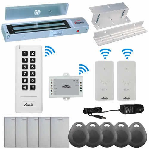 Visionis FPC-6352 White Indoor One door Access control Inswinging Door 2.4Ghz Wireless Keypad / Reader and Wireless Exit Button with Hard Wired 600lb Electric Maglock 500 Users Range of 50 feet Delay and On/Off Toggle Mode Standalone No software Kit