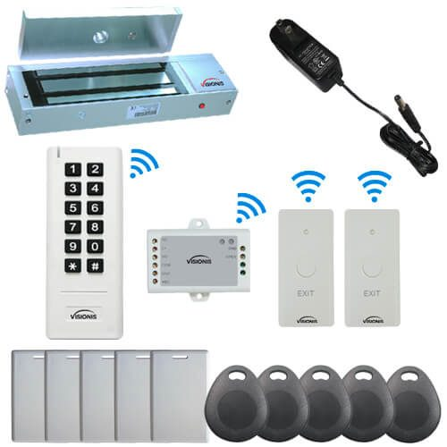 Visionis FPC-6353 White Indoor One door Access control Outswinging Door 2.4Ghz Wireless Keypad / Reader and Wireless Exit Button with Hard Wired 1200lb Electric Maglock 500 Users Range of 50 feet Delay and On/Off Toggle Mode Standalone No software Kit