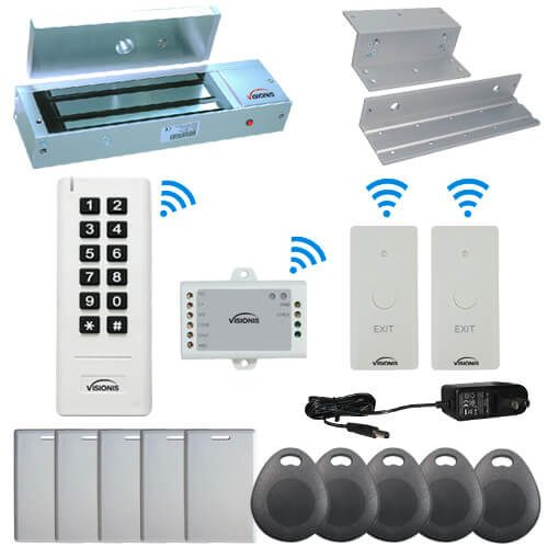 Visionis FPC-6354 White Indoor One door Access control Inswinging Door 2.4Ghz Wireless Keypad / Reader and Wireless Exit Button with Hard Wired 1200lb Electric Maglock 500 Users Range of 50 feet Delay and On/Off Toggle Mode Operated Standalone No software
