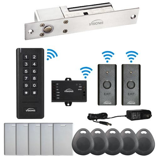 Visionis FPC-6355 Black Indoor 1 Door Access Control Outswinging 2.4Ghz Wireless Keypad/Reader with Hard Wired 1700lbs Electric Drop Bolt Fail Safe Standalone Kit