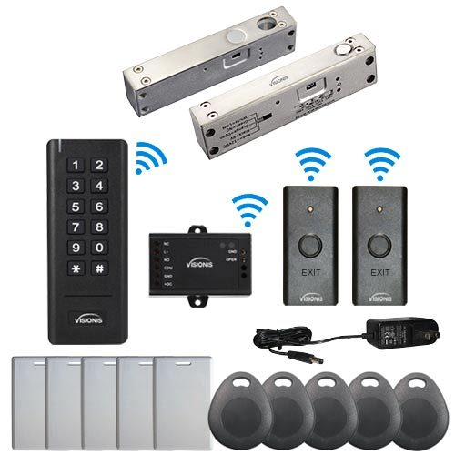 Visionis FPC-6358 Black Indoor One door Access control Outswinging Door 2.4Ghz Wireless Keypad/Reader and Wireless Exit Button With Hard Wired 2,200lbs Electric Drop Bolt Fail Safe for Narrow Doors 500 Users Range of 50 feet Standalone No software Kit