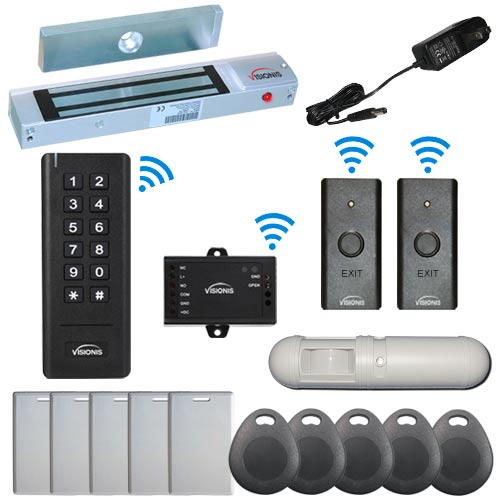 Visionis FPC-6377 Black Indoor One Door Access Control Outswinging 2.4Ghz Wireless Keypad/Reader with Hard Wired 300lb Maglock PIR Included Kit