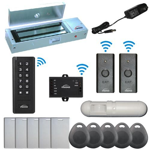Visionis FPC-6381 Black Indoor One Door Access Control Outswinging Door 2.4Ghz Wireless Keypad/Reader and Wireless Exit Button with Hard Wired 1200lb Electric Maglock PIR Included 500 Users Range of 50 feet Standalone No software Kit
