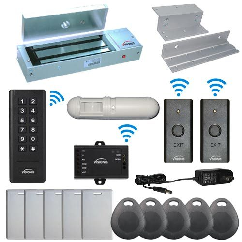 Visionis FPC-6382 Black Indoor One Door Access Control Inswinging Door 2.4Ghz Wireless Keypad/Reader and Wireless Exit Button with Hard Wired 1200lb Electric Maglock PIR Included 500 Users Range of 50 feet Standalone No software Kit