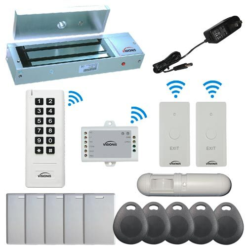 Visionis FPC-6387 White Indoor One Door Access Control Outswinging Door 2.4Ghz Wireless Keypad/Reader and Wireless Exit Button with Hard Wired 1200lb Electric Maglock PIR Included 500 Users Range of 50 feet Standalone No software Kit