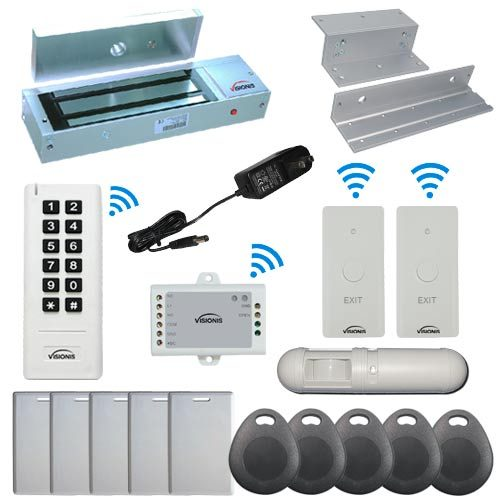 Visionis FPC-6388 White Indoor One Door Access Control Inswinging Door 2.4Ghz Wireless Keypad/Reader and Wireless Exit Button with Hard Wired 1200lb Electric Maglock PIR Included 500 Users Range of 50 feet Standalone No software Kit