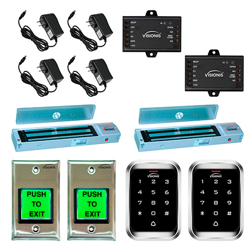 FPC-5111 Two door Access Control outswinging door 600lbs Electromagnetic lock with Visionis Outdoor Keypad  sc 1 st  FPC Security & Two Door 600lbs Electromagnetic lock with Outdoor Keypad Kit - FPC ... pezcame.com