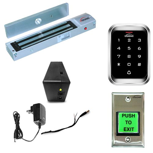 FPC-5219-VS one door access control outswinging door 600lbs electromagnetic lock with Visionis outdoor keypad and battery back up kit