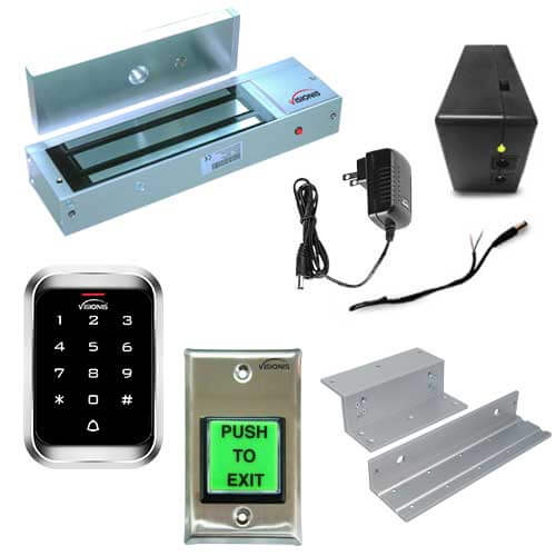FPC-5223-VS One Door Access Control Inswinging Door 1200lbs Electromagnetic Lock With Visionis Outdoor Keypad And Battery Backup Kit