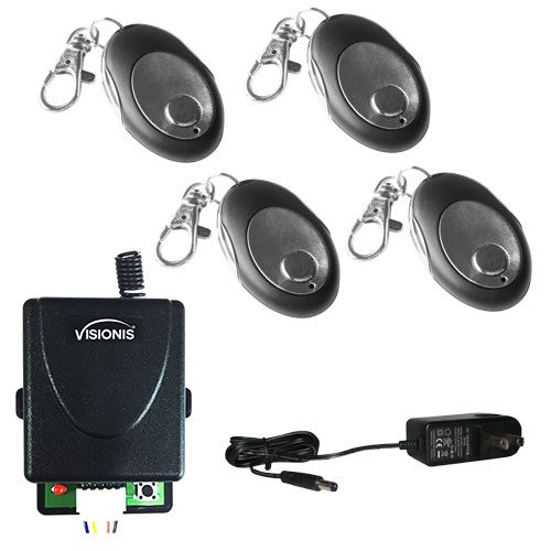 Visionis FPC-5229 4 Mini 315mhz wireless fixed code remote with one channel RF receiver Momentary Switch and power supply kit