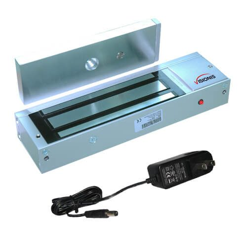 Visionis FPC-5362 Indoor 1200lbs Electromagnetic Lock CE listed with a 12v 1000ma power supply