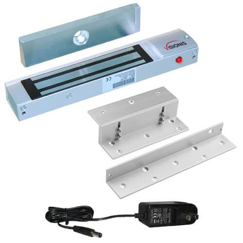 FPC-5363 300 lbs Indoor Electromagnetic Lock with 300 lbs L and Z Bracket with a 12v 1000ma power supply