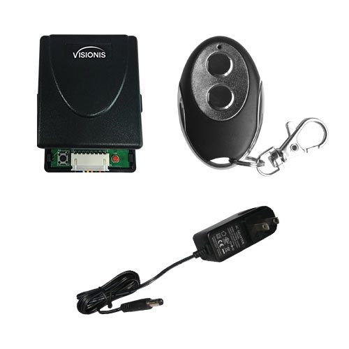 Visionis FPC-5368 1 Mini 315mhz wireless fixed code remote with Two channel RF receiver Momentary Switch and power supply kit